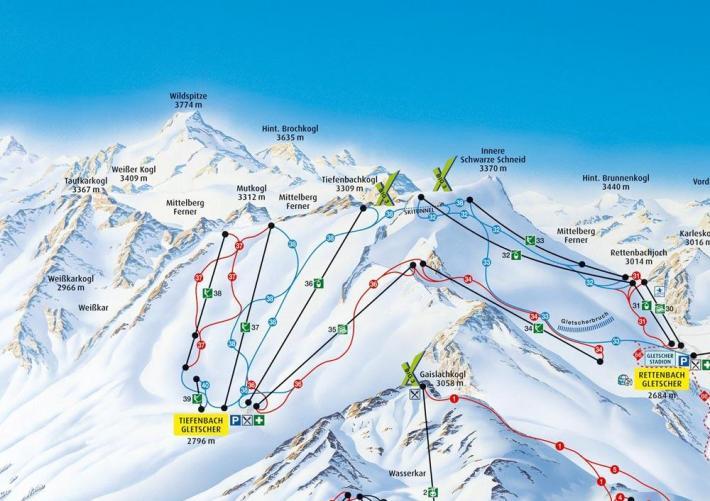 Harta traseelor pentru schiat din Solden, Foto: freeridegirl.com