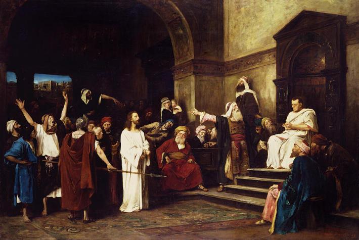 Iisus Hristos este adus in fata lui Pilat, Foto: oxfordwindow.wordpress.com