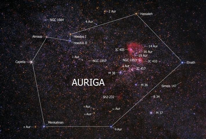 Constelatia Auriga si principalii sateliti, Foto: paginadeastronomie.wordpress.com