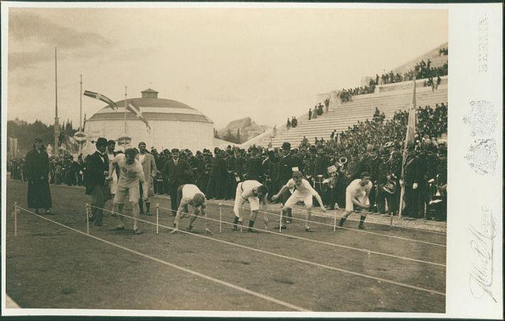 Cursa de 100 de metri de la Jocurile Olimpice din 1896 in Grecia , Foto: commons.wikimedia.org