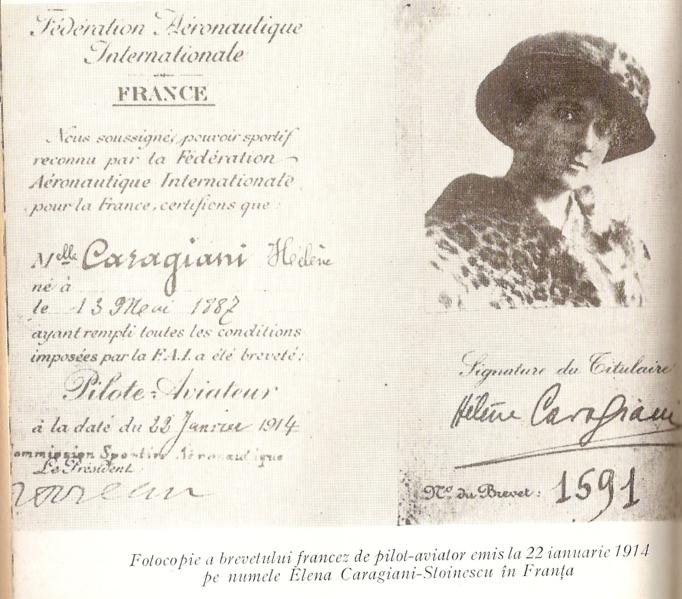 Fotocopie a brevetului fracez de pilotaj al Elenei Caragiani, Foto: commons.wikimedia.org