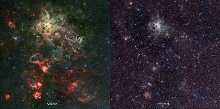 Infrared & visible comparison of the VISTA Tarantula Nebula image
