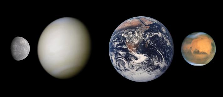Planetele telurice Mercur, Venus, Pamant, Marte , Foto: en.wikipedia.org