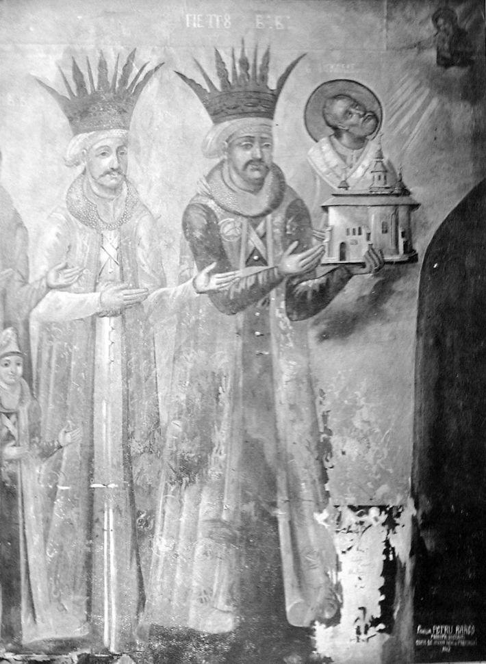 Fresca lui Petru Rares si fiul Ilie din Manastirea Pobrata, Foto: commons.wikimedia.org