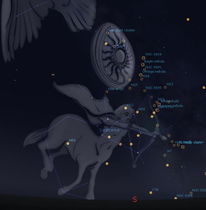 Principalele stele din Constelatia Scutum si Sagetator, Foto: bobmoler.wordpress.com