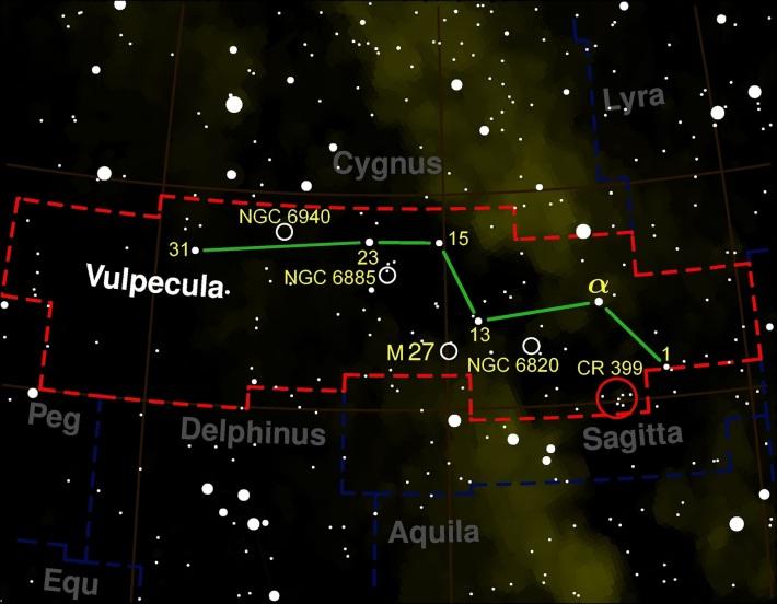 Harta constelatiei Vulpecula, Foto: astronomia-para-amadores.blogspot.com
