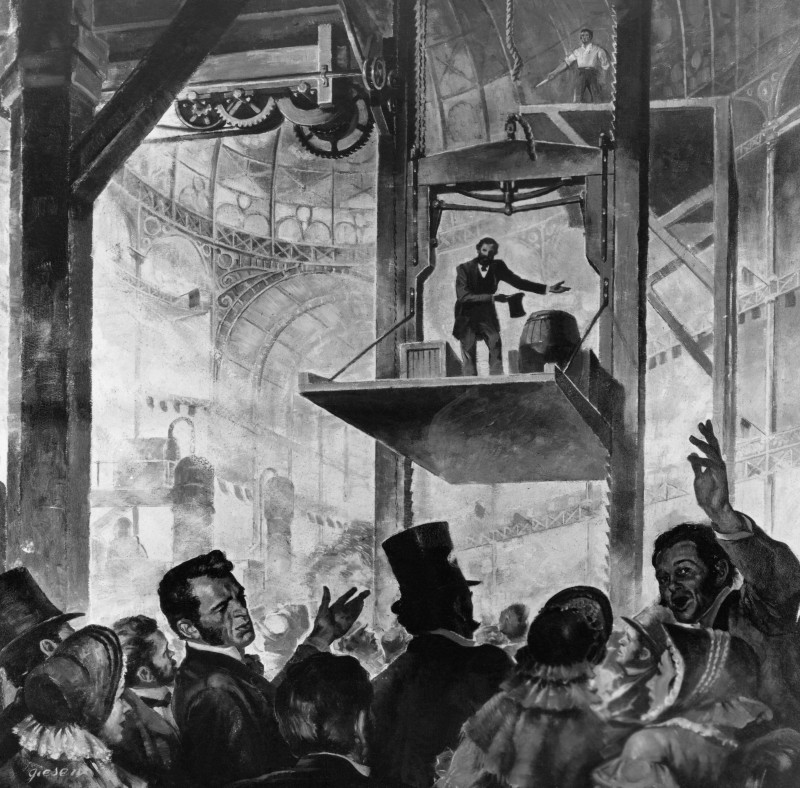 Otis is prezinta primul ascensor in Crystal Palace, New York in 1853, Foto: clionauta.hypotheses.org