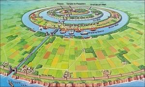 Harta Atlantisului din descrierea lui Platon, foto: ancientaliensdebunked.com