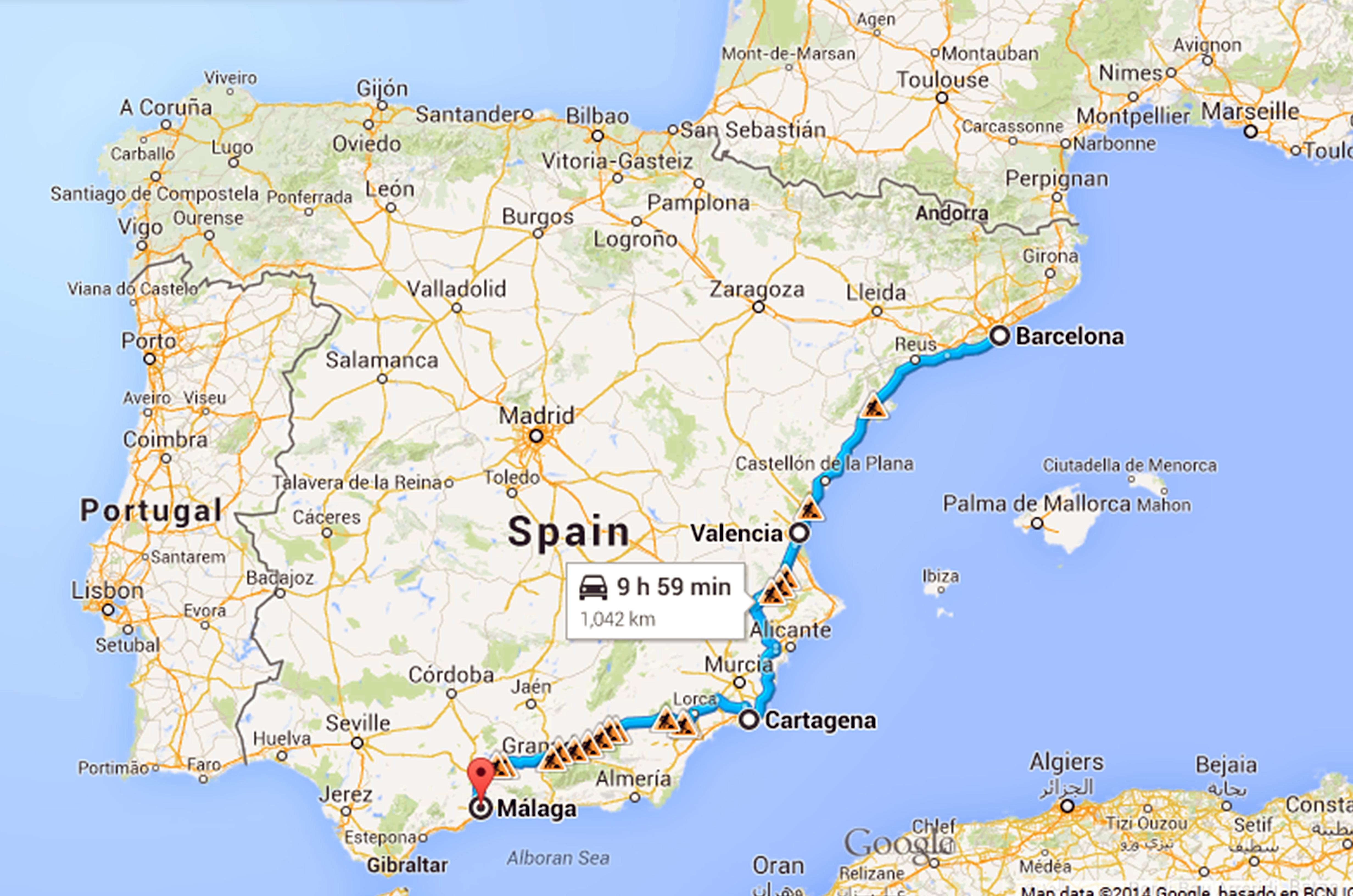 O rută bună spre Malaga