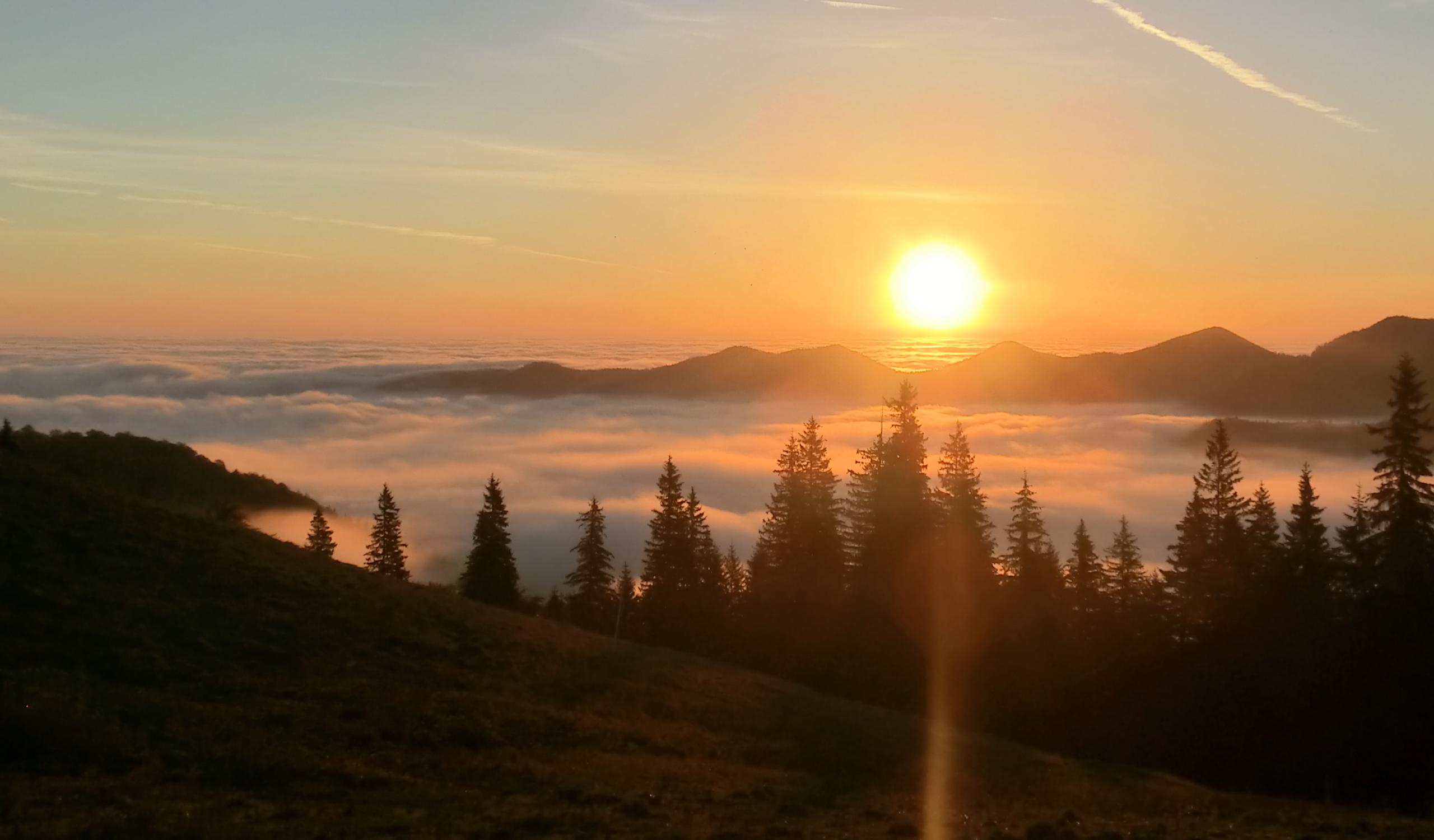 122 - 13.10.2013 - Răsăritul soarelui, văzut din poiana din Şaua Golici - Tură Muntele Coza