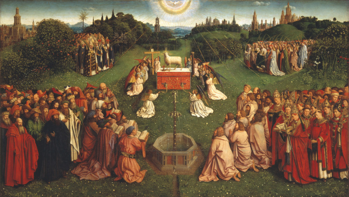 Jan si Hubert Van Eyck; Adoratia mielului mistic, Foto: credidimus.wordpress.com