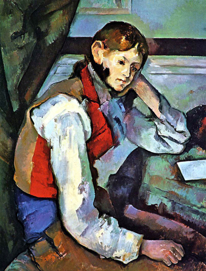 Paul Cezanne; Baiatul cu vesta rosie, Foto: arteascuolasovizzo.wordpress.com