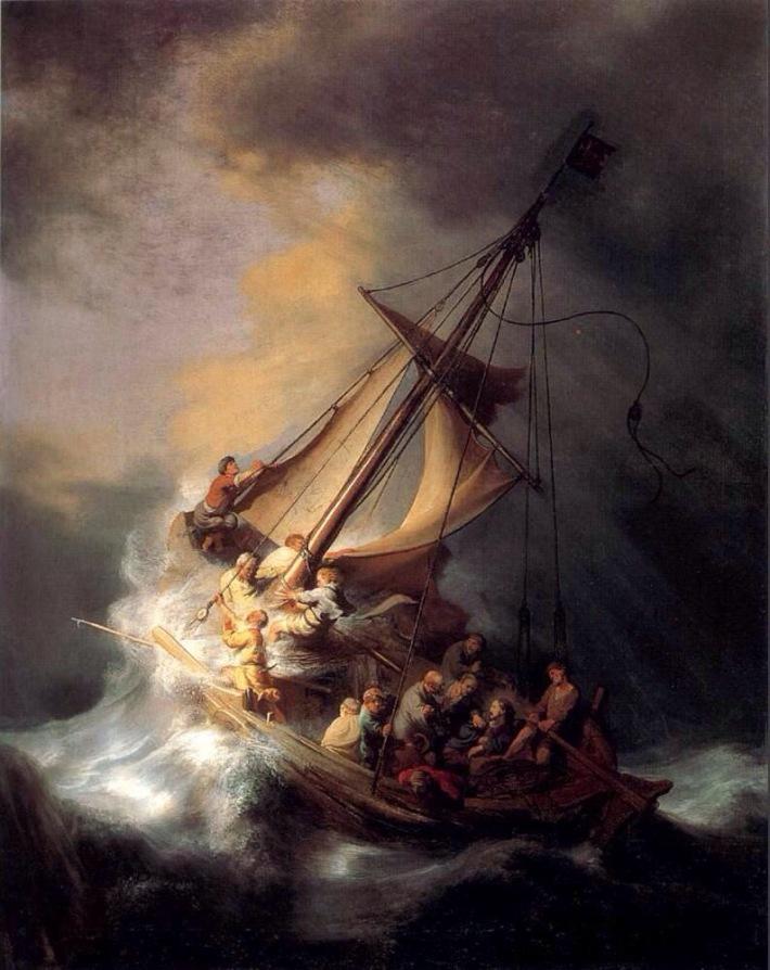 Rembrandt; Furtuna pe marea Galileei, Foto: pastorkme.wordpress.com