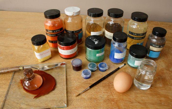 Tempera pe baza de ou, Foto: fitzconservationstudents.wordpress.com