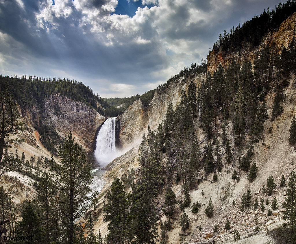 The Lower Falls of the Yellowstone River in northwestern WyomingThe Lower Falls of the Yellowstone River in northwestern Wyoming
