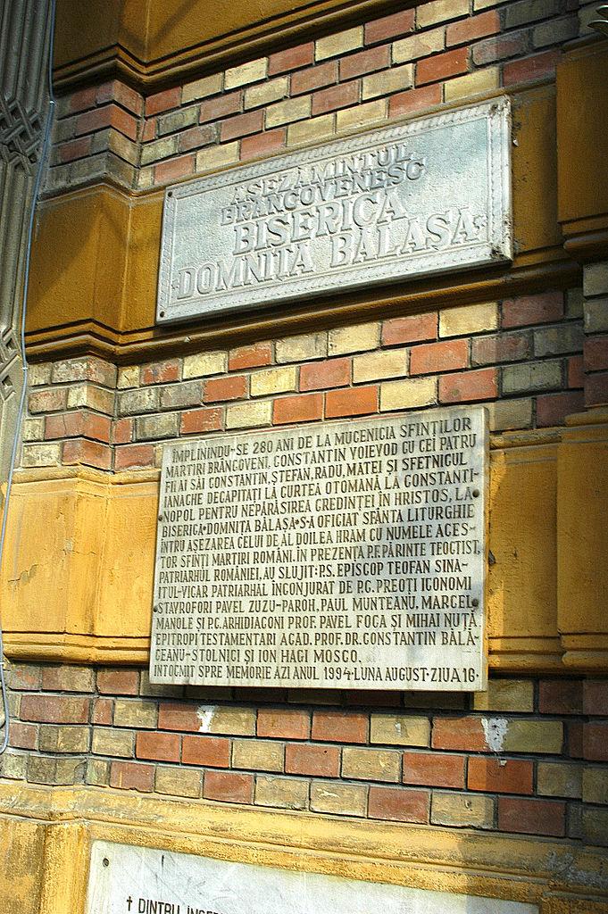 Biserica Domnița Bălașa placa comemorativa
