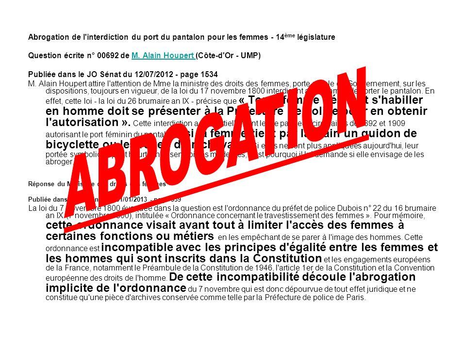 Abrogarea legii care interzicea pariziencelor sa poarte pantaloni