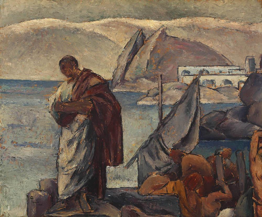 Ovidiu în exil, ulei pe carton de Ion Theodorescu-Sion, 1915