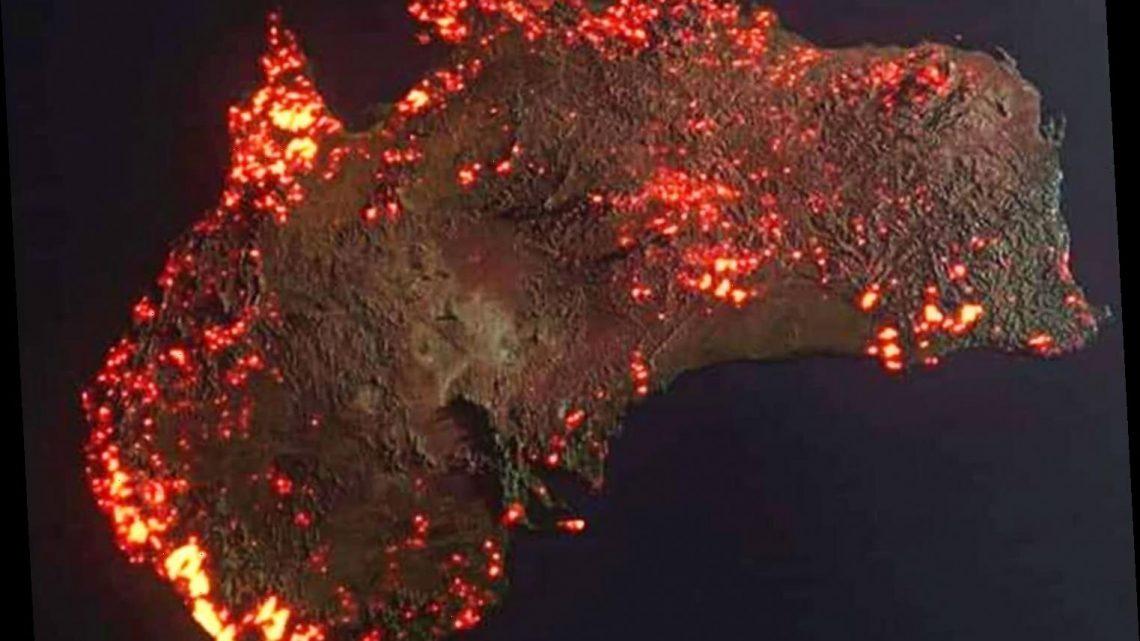 Australia in flacari, imagine din satelit, Sursa News on the Flipside