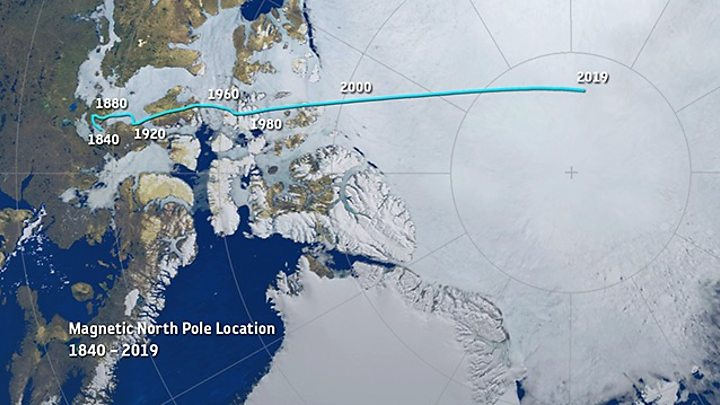 Polul Nord magnetic se deplaseaza tot mai rapid spre Siberia, Sursa: BBC