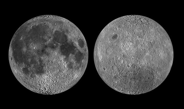 Faţa vazuta si cea nevazuta a Lunii, Sursa NASA