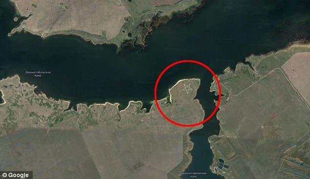 10 descoperiri ciudate făcute cu ajutorul Google Earth, Pentagrama in Kazahstan